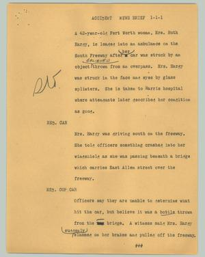 Primary view of object titled '[News Script: Accident new brief]'.