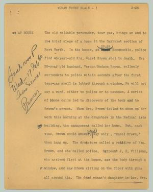 Primary view of object titled '[News Script: Woman found slain]'.