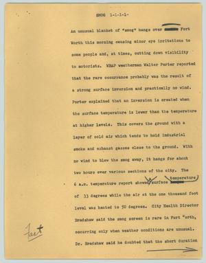 Primary view of object titled '[News Script: Smog]'.
