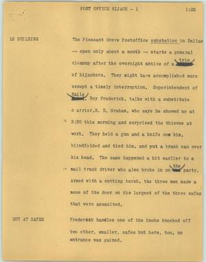 Primary view of object titled '[News Script: Post office hijack]'.