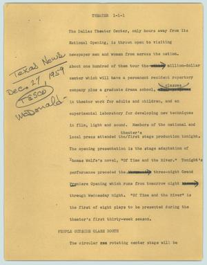 Primary view of [News Script: Theater]