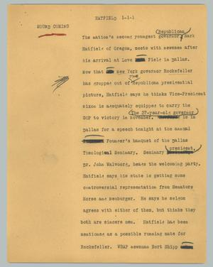 Primary view of object titled '[News Script: Harfield]'.