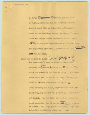 Primary view of object titled '[News Script: Injunction]'.