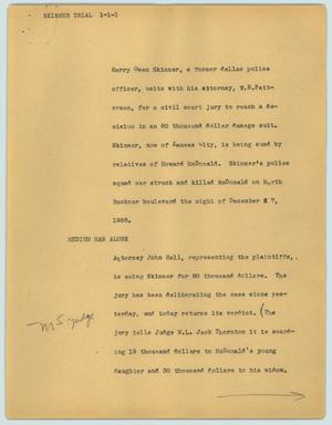 Primary view of object titled '[News Script: Skinner trial]'.