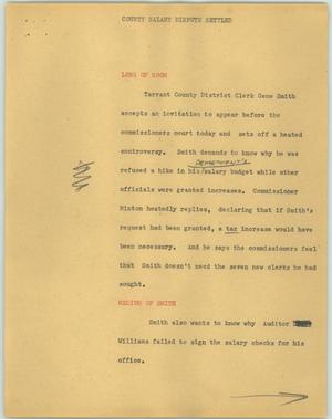 Primary view of object titled '[News Script: County salary dispute settled]'.