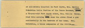 Primary view of object titled '[News Script: Woman shot]'.