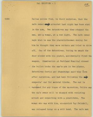 Primary view of object titled '[News Script: Dal shooting]'.