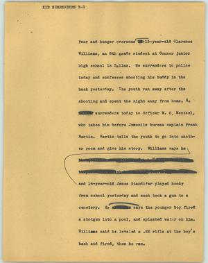 Primary view of object titled '[News Script: Kid surrenders]'.