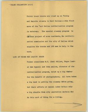 Primary view of object titled '[News Script: Trash collection]'.