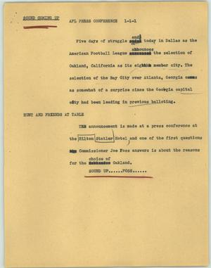 Primary view of object titled '[News Script: AFL press conference]'.