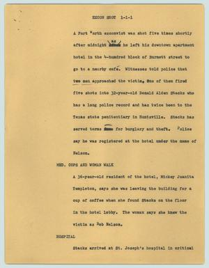Primary view of object titled '[News Script: Excon shot]'.