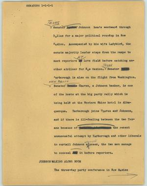 Primary view of object titled '[News Script: Senators]'.
