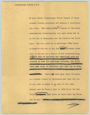 Primary view of object titled '[News Script: Congressman Rogers]'.