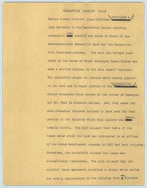 Primary view of object titled '[News Script: Mercantile lawsuit]'.