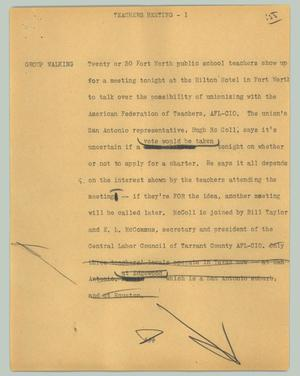 Primary view of object titled '[News Script: Teachers meeting]'.