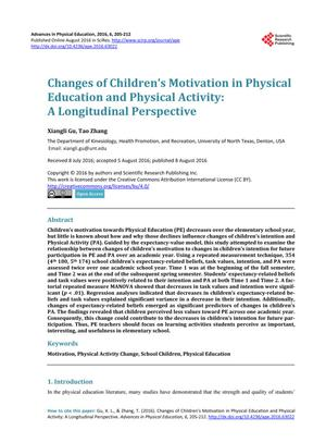 Changes of Children's Motivation in Physical Education and Physical Activity: A Longitudinal Perspective