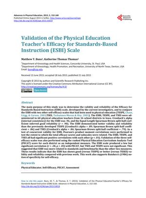 Primary view of object titled 'Validation of the Physical Education Teacher's Efficacy for Standards-Based Instruction (ESBI) Scale'.