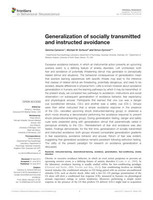 Generalization of socially transmitted and instructed avoidance
