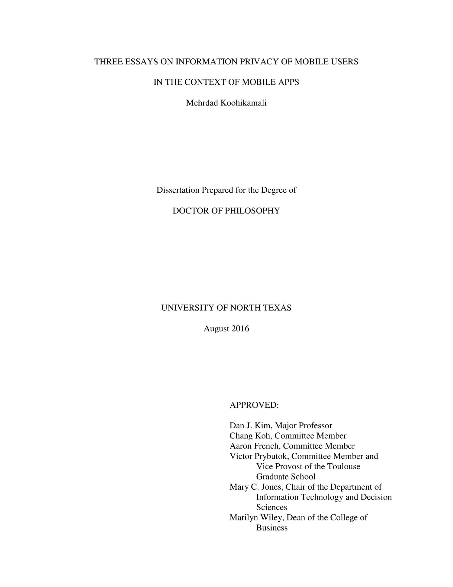 Three Essays On Information Privacy Of Mobile Users In The Context  Three Essays On Information Privacy Of Mobile Users In The Context Of  Mobile Apps  Digital Library Narrative Essay Thesis Statement Examples also Business Essay Writing Service  Essay In English Literature