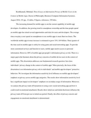 Essay For High School Students Thumbnail Image Of Item Number  In Three Essays On Information Privacy  Of Mobile Good Argumentative Essay Examples also Student Council Application Essay Three Essays On Information Privacy Of Mobile Users In The Context  Expositary Essay