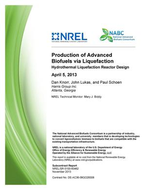 Primary view of object titled 'Production of Advanced Biofuels via Liquefaction - Hydrothermal Liquefaction Reactor Design: April 5, 2013'.