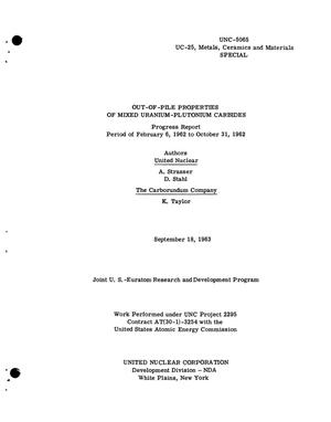 Primary view of object titled 'OUT-OF-PILE PROPERTIES OF MIXED URANIUM-PLUTONIUM CARBIDES. Progress Report, February 6, 1962-October 31, 1962'.