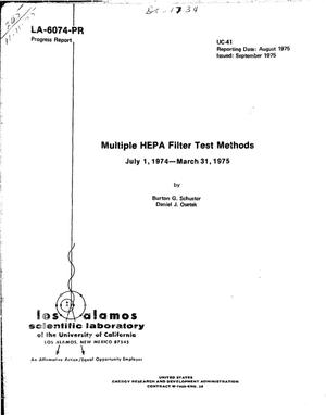 Primary view of object titled 'Multiple HEPA filter test methods, July 1, 1974--March 31, 1975'.