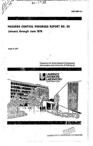 Primary view of object titled 'Hazards control progress report No. 50, January--June 1975'.