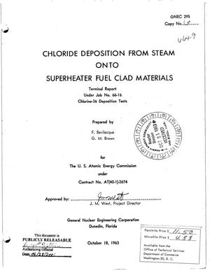 Primary view of object titled 'CHLORIDE DEPOSITION FROM STEAM ONTO SUPERHEATER FUEL CLAD MATERIALS'.