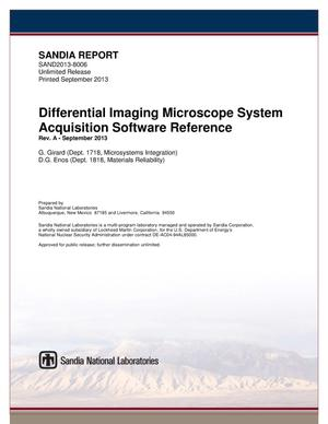 Primary view of object titled 'Differential imaging microscope system acquisition software reference.'.