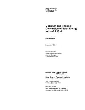 Primary view of object titled 'Quantum and Thermal Conversion of Solar Energy to Useful Work'.