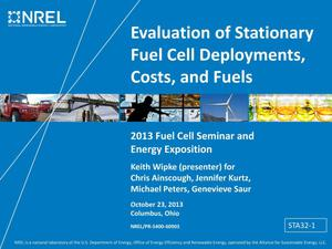 Primary view of object titled 'Evaluation of Stationary Fuel Cell Deployments, Costs, and Fuels (Presentation)'.