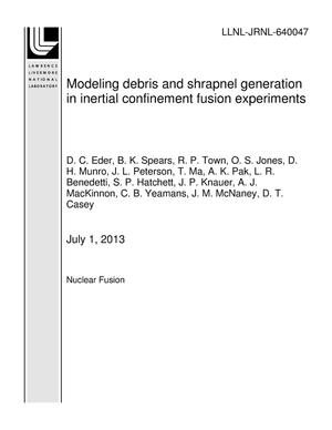 Primary view of object titled 'Modeling debris and shrapnel generation in inertial confinement fusion experiments'.