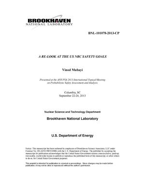 Primary view of object titled 'A RE-LOOK AT THE US NRC SAFETY GOALS'.