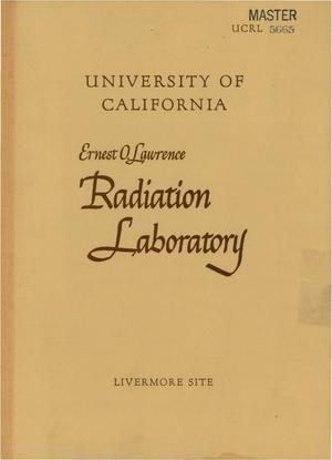 Primary view of object titled 'PROCEEDINGS OF THE SECOND SYMPOSIUM ON THE APPLICATION OF PULSED NEUTRON SOURCE TECHNIQUES, HELD AT THE LAWRENCE RADIATION LABORATORY, BERKELEY, CALIFORNIA, DECEMBER 4-5, 1958'.