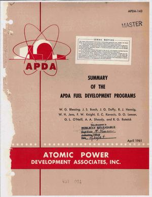 Primary view of object titled 'Summary of the Apda Fuel Development Programs'.