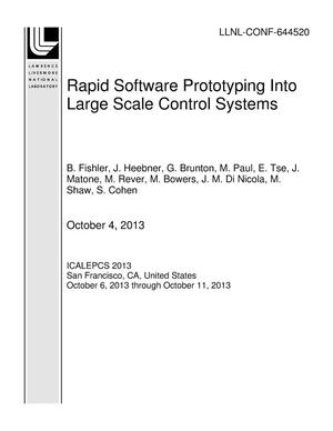 Primary view of object titled 'Rapid Software Prototyping Into Large Scale Control Systems'.