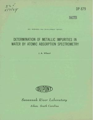 Primary view of object titled 'Determination of Metallic Impurities in Water by Atomic Absorption Spectrometry'.