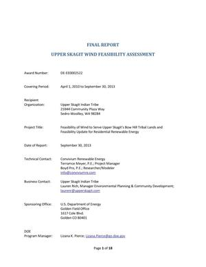 Primary view of object titled 'Feasibility of Wind to Serve Upper Skagit's Bow Hill Tribal Lands and Feasibility Update for Residential Renewable Energy.'.