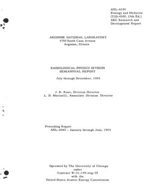 Primary view of object titled 'RADIOLOGICAL PHYSICS DIVISION SEMIANNUAL REPORT FOR JULY THROUGH DECEMBER 1959'.