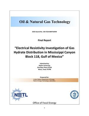 Primary view of object titled 'Electrical Resistivity Investigation of Gas Hydrate Distribution in Mississippi Canyon Block 118, Gulf of Mexico'.