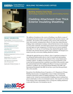 Primary view of object titled 'Cladding Attachment Over Thick Exterior Insulating Sheathing (Fact Sheet)'.