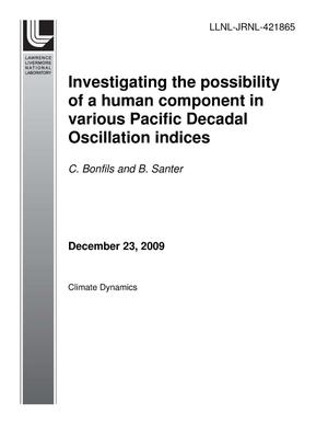 Primary view of object titled 'Investigating the possibility of a human component in various Pacific Decadal Oscillation indices'.
