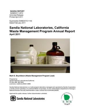 Primary view of object titled 'Sandia National Laboratories California Waste Management Program Annual Report April 2011.'.