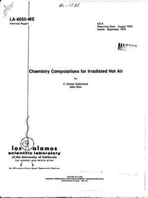 Primary view of object titled 'Chemistry computations for irradiated hot air'.