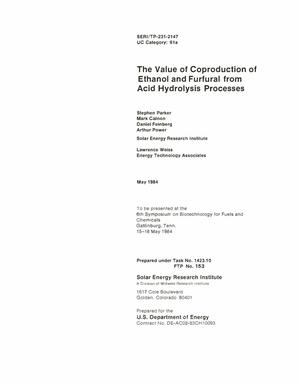 Primary view of object titled 'Value of Coproduction of Ethanol and Furfural from Acid Hydrolysis Processes'.