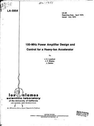 Primary view of object titled '100-MHz power amplifier design and control for a heavy-ion accelerator'.