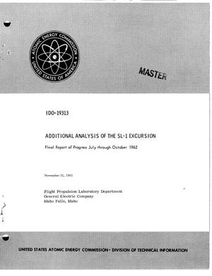 Primary view of object titled 'ADDITIONAL ANALYSIS OF THE SL-1 EXCURSION. Final Report of Progress, July- October 1962'.
