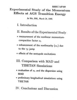 Primary view of object titled 'Experimental Study of the Momentum Effects at AGS Transition Energy'.