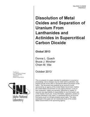 Primary view of object titled 'DISSOLUTION OF METAL OXIDES AND SEPARATION OF URANIUM FROM LANTHANIDES AND ACTINIDES IN SUPERCRITICAL CARBON DIOXIDE'.